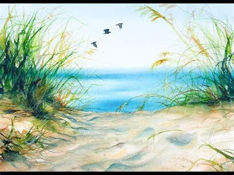 watercolor grass tutorial watercolors beach grass painting tutorial youtube