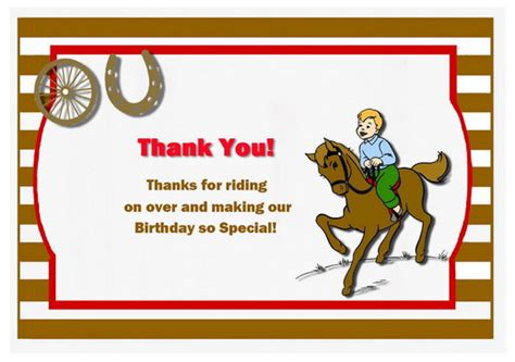 Printable Thank You Cards Horse | horse thank you cards birthday printable