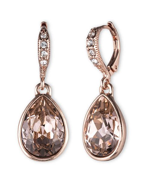 givenchy gold tone drop earrings in pink lyst