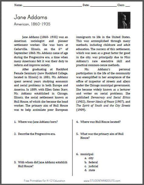 Jane Addams 1860 1935 Reading Worksheet Student Handouts