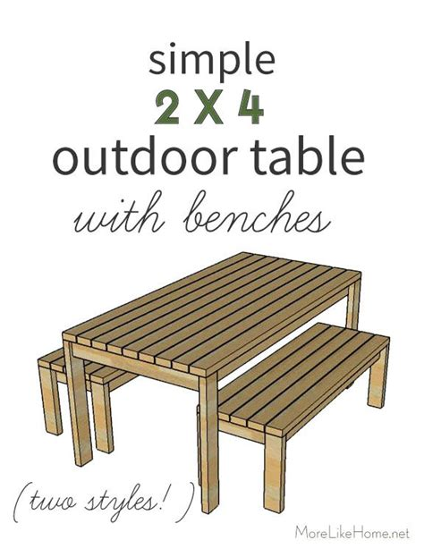 simple outdoor table  benches  styles diy