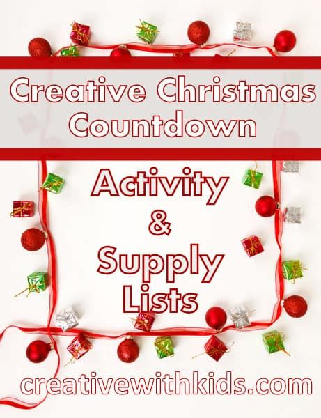 supply and activity lists creative christmas countdown