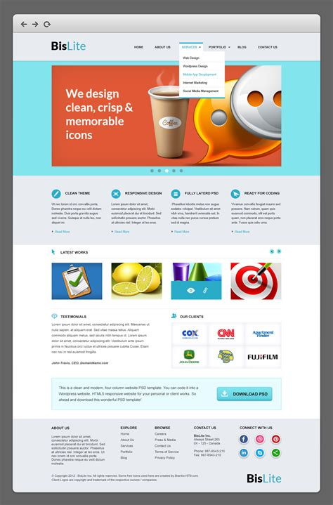 Bislite Business Website Psd Templates Graphicsfuel Templates Business Website