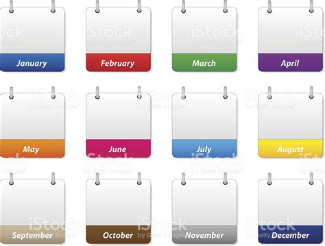 Month Of The Calendar Set Of Colorful Calendar Icons With Months Of The Year