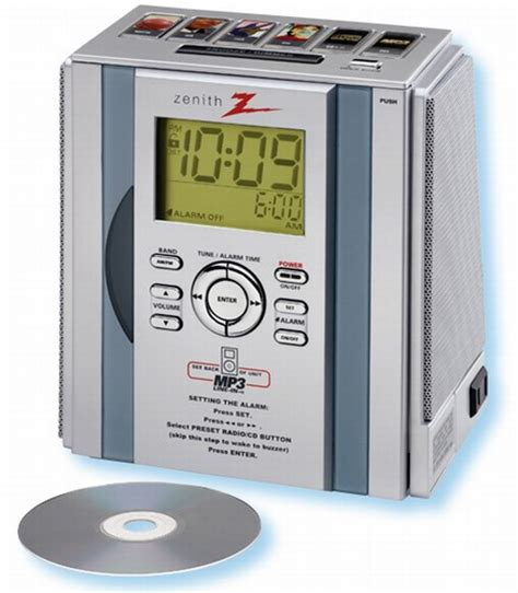 zenith 174 auto set icon tuning alarm cd clock radio with mp3 line in 771 z1261s