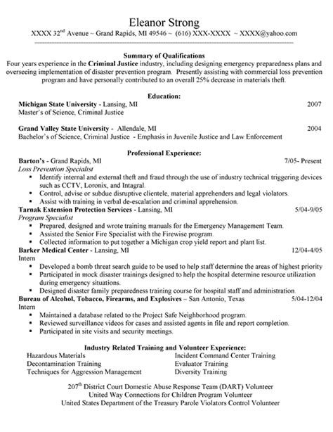 Sle Resume For Entry Level Criminal Justice Resume Degree