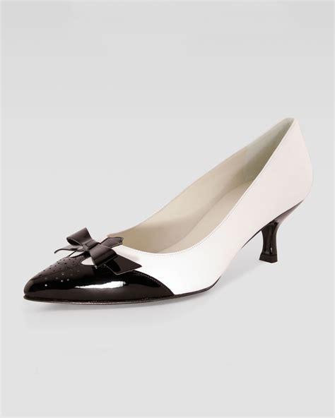 womens spectator shoes flats lyst stuart weitzman spectator kitten heel in black