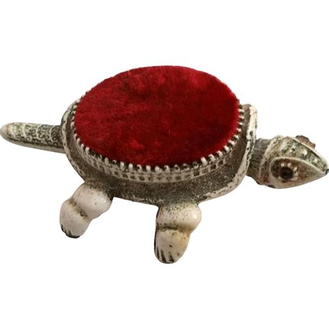 bobblehead turtle florenza turtle pincushion nodder and antiqued