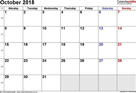 October 2018 Calendar Calendar October 2018 Uk Bank Holidays Excel Pdf Word