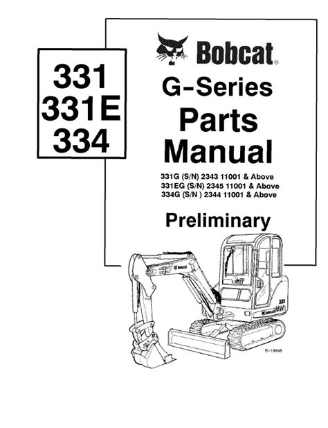 Bobcat 331 331E 334 G-Series Excavator Parts Manual PDF