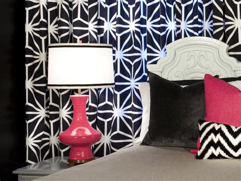 black and white curtains contemporary bedroom hgtv modern bedroom update add a drapery focal wall hgtv