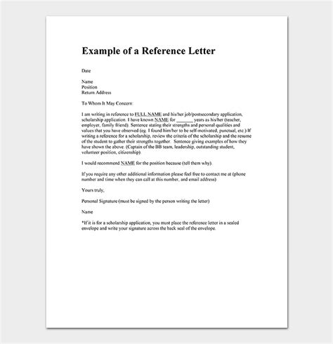 reference letter template examples samples