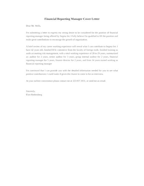 Financial Report Letter Basic Financial Reporting Manager Cover Letter Sles And Templates