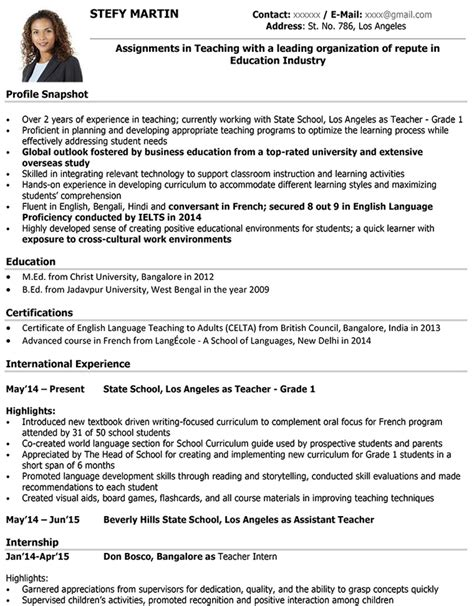 sles of cv for teachers cv format resume sle and template