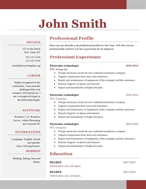 1 page cv template word one page resume template free resume