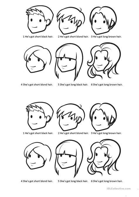 hair style esl colour their hair worksheet free esl printable