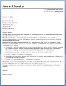 Reception Cover Letter by Receptionist Cover Letter Sle Resume Downloads