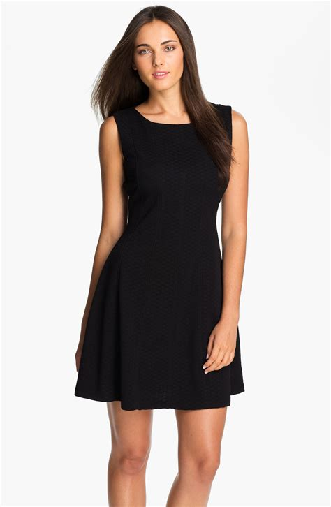 ponte knit dresses dresses textured ponte knit fit flare dress in