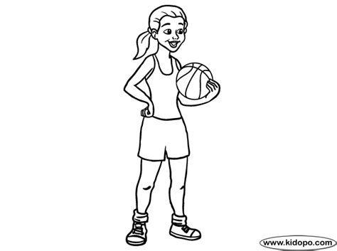 coloring pages of girl basketball players girl basketball player 04 coloring page