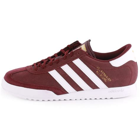 adidas beckenbauer mens leather suede maroon trainers