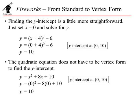 fireworks from standard to vertex form ppt