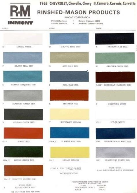 1968 chevy paint color sle chips card oem colors ebay