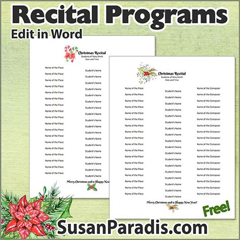 Recital Program Templates To Personalize Susan Paradis Piano Teaching Resources Recital Program Template