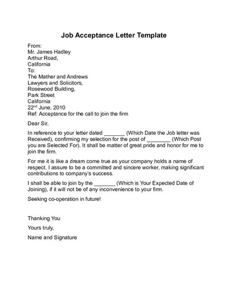 acceptance letter for employment sle letter accepting
