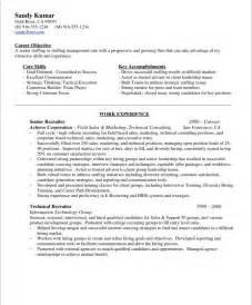 Personnel Recruiter Sle Resume by Hr Recruiter Free Resume Sles Blue Sky Resumes