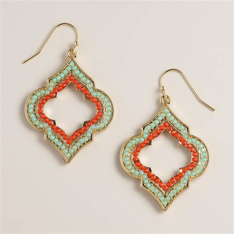 turquoise and coral lantern drop earrings world market