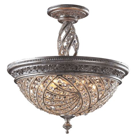 Elk Lighting 6233 6 Crystal Renaissance Semi Flush Mount Ceiling Semi Flush Mount Light Fixtures