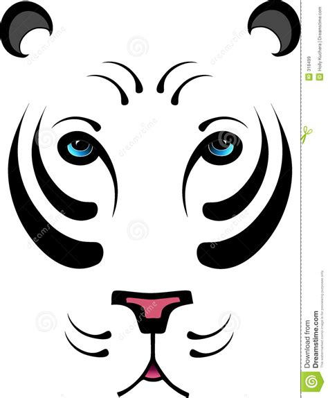 stylized white tiger no outline stock vector image 318499