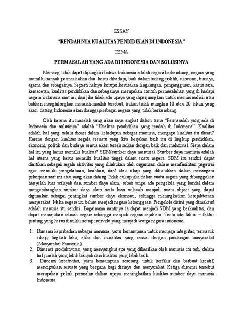 Doc Essay Rendahnya Kualitas Pendidikan Di Indonesia