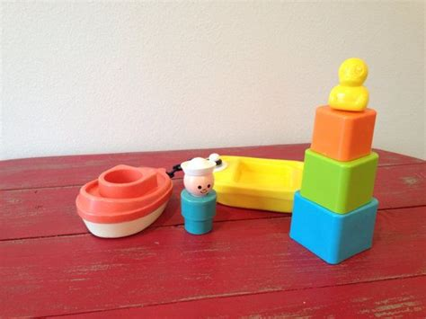 fisher price bath toy boat vintage fisher price little people tugboat with chain and
