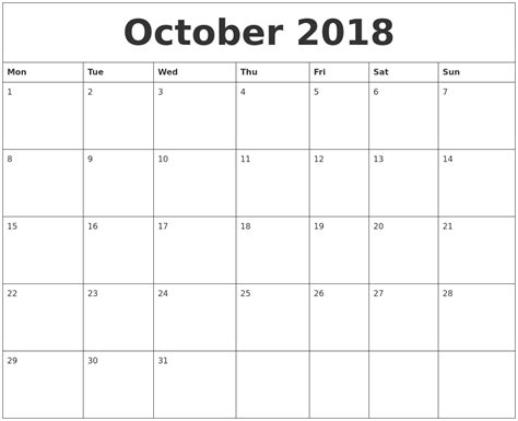 printable calendar sheets october 2018 printable calendar pages