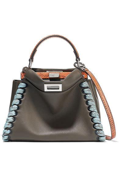 Whips Out The Fendi Purse Again by Fendi Peekaboo Mini Elaphe Trimmed Leather Shoulder Bag