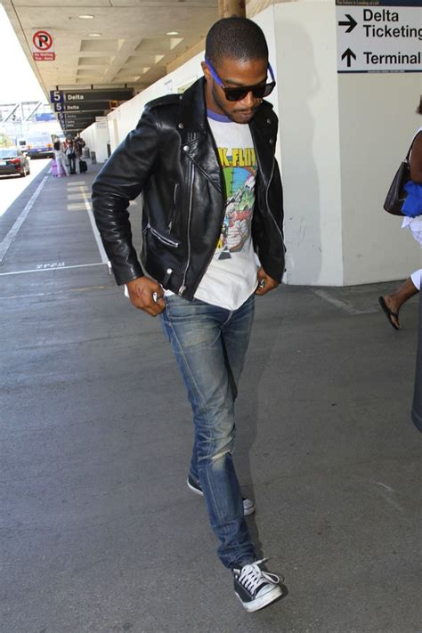 St Hello Denim Birukid my hell of a cudi wears laurent leather biker jacket and converse at lax airport