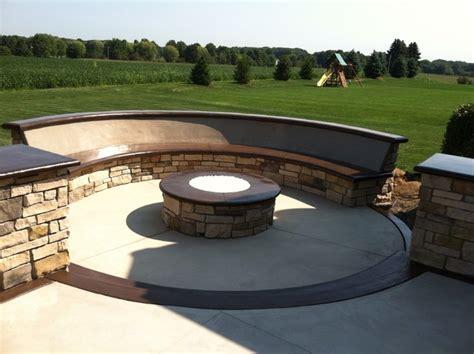 gas bench custom concrete seating bench around gas firepit
