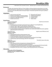 Software Trainer Cover Letter by Software Resume Exles It Resume Sles Livecareer