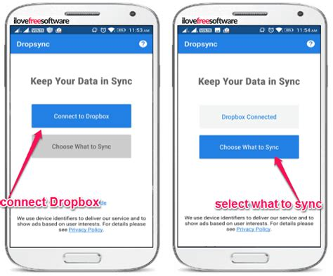 dropbox connect how to auto sync android folders with dropbox