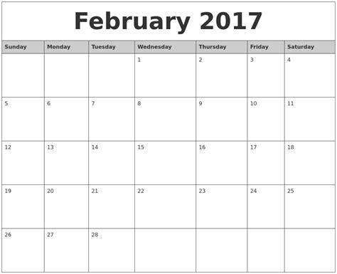 printable calendar monthly 2017 february 2017 monthly calendar printable