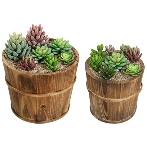 Rustic Flower Pots Planters by Set Of 2 Country Rustic Brown Wood Succulent Pots Planters