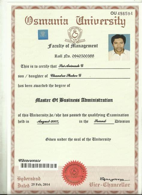 Convocation Certificate - M.B.A