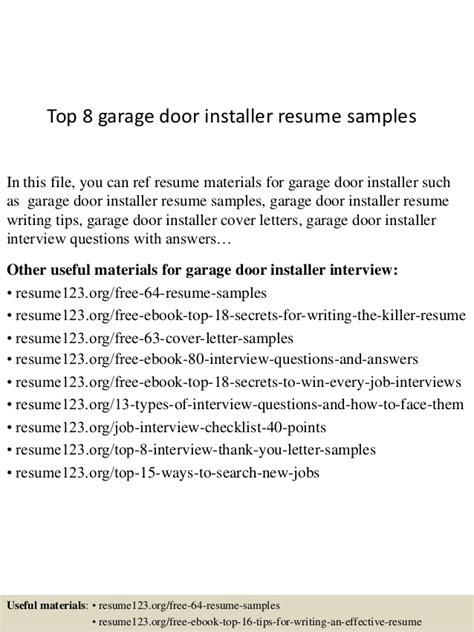 Electrician Resume Examples by Top 8 Garage Door Installer Resume Samples