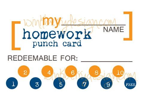 homework punch card template 4 best images of printable reading punch cards reading