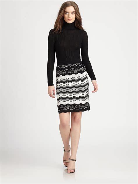 blumarine zig zag pattern skirt in black lyst lyst m missoni zigzag striped knit skirt in black