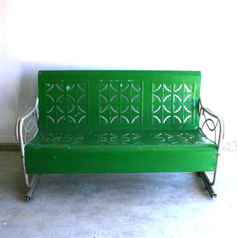 vintage metal glider bench spring green vintage glider metal bench by rhapsody attic