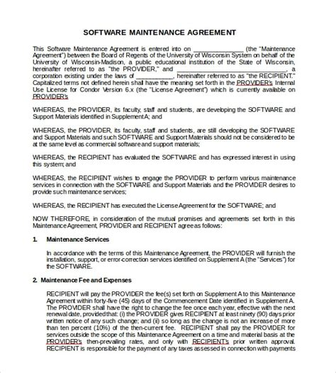 support contract templates     sample templates