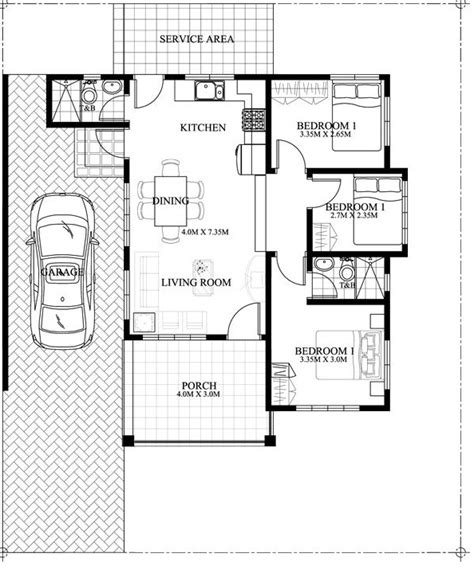 area of a floor plan single story simple house design with a total floor area