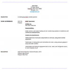 sample resume hvac technician hvac technician sample resume
